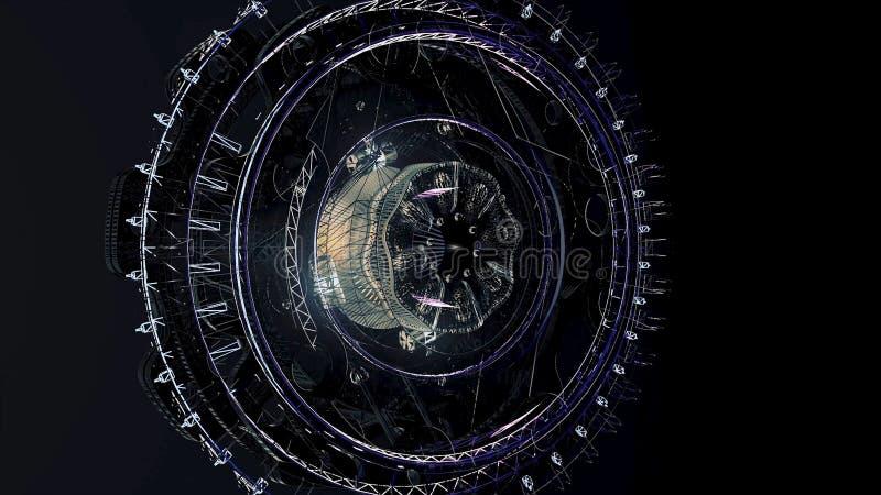 Grande satélite bonito no espaço animation Mecanismo de gerencio de um navio de espaço abstrato no fundo preto ilustração do vetor