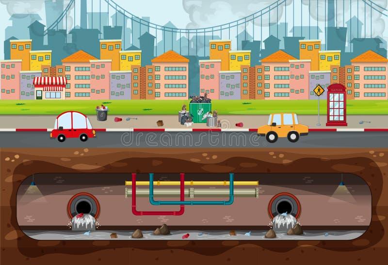 Grande scène moderne de pollution de ville illustration libre de droits