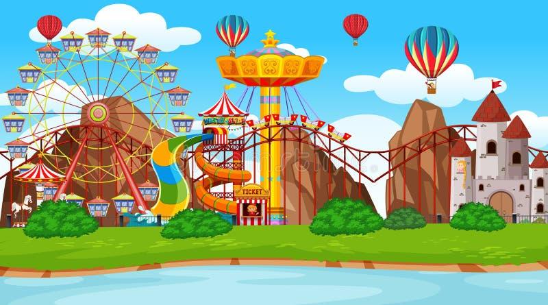 Grande scena del parco di divertimenti illustrazione di stock