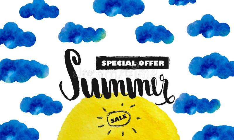 Grande sconto di estate Offerta speciale per l'estate Sun nelle nubi Priorità bassa dell'acquerello Vettore illustrazione vettoriale