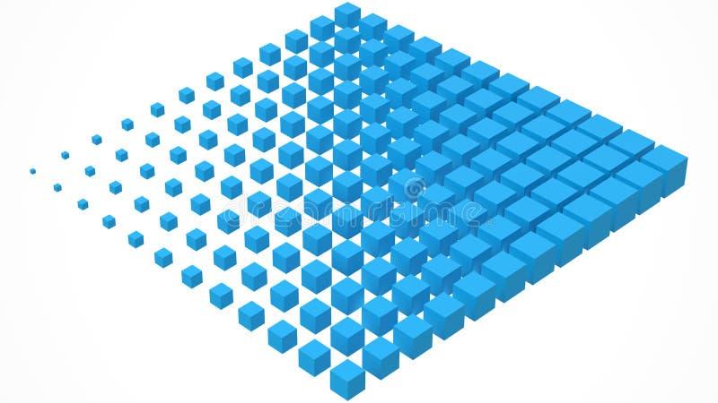 Grande scructure del cubo che si dissolve ai piccoli cubi illustrazione di vettore di stile 3d illustrazione vettoriale