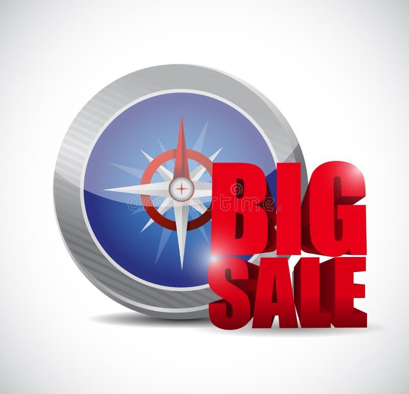 Grande segno di affari della bussola di vendita illustrazione vettoriale