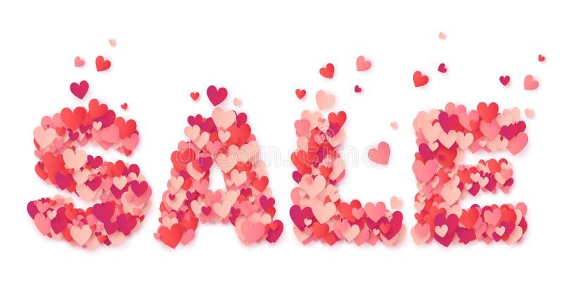 Grande segno di carta di VENDITA dei cuori rosa e rossi isolato su fondo bianco illustrazione di stock