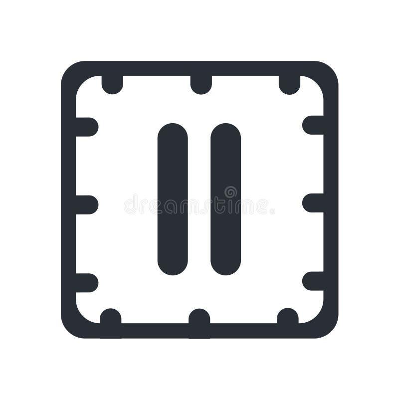 Grande segno e simbolo di vettore dell'icona del tasto pausa isolati su fondo bianco, grande concetto di logo del tasto pausa illustrazione di stock