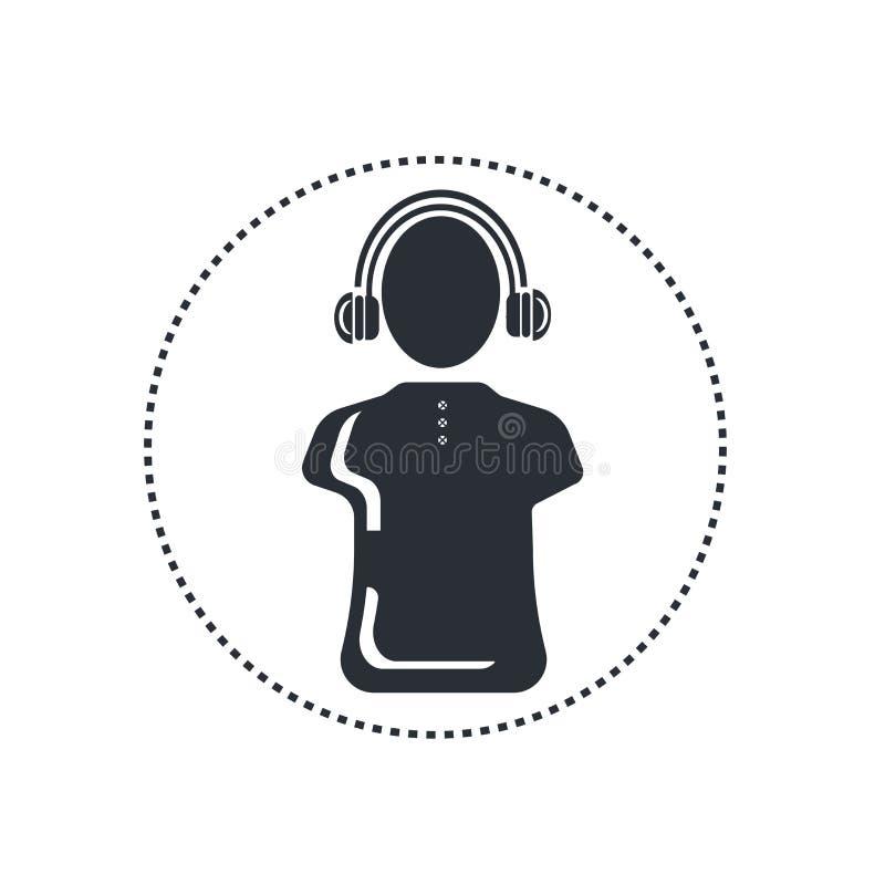 Grande segno e simbolo di vettore dell'icona delle cuffie isolati su fondo bianco, grande concetto di logo delle cuffie illustrazione di stock