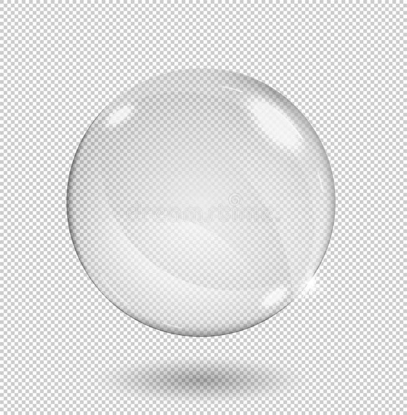 Grande sfera di vetro trasparente bianca con gli abbagliamenti ed i punti culminanti Trasparenza soltanto nel formato di vettore illustrazione di stock