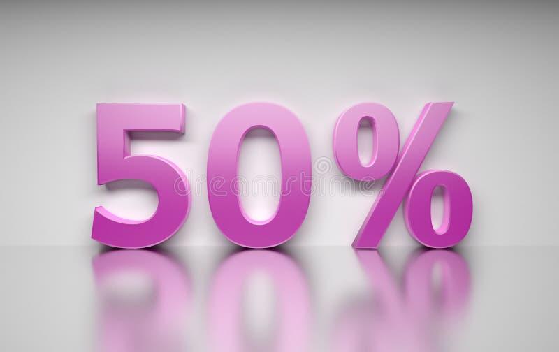 Grande sinal de 50 por cento cor-de-rosa no fundo branco ilustração royalty free