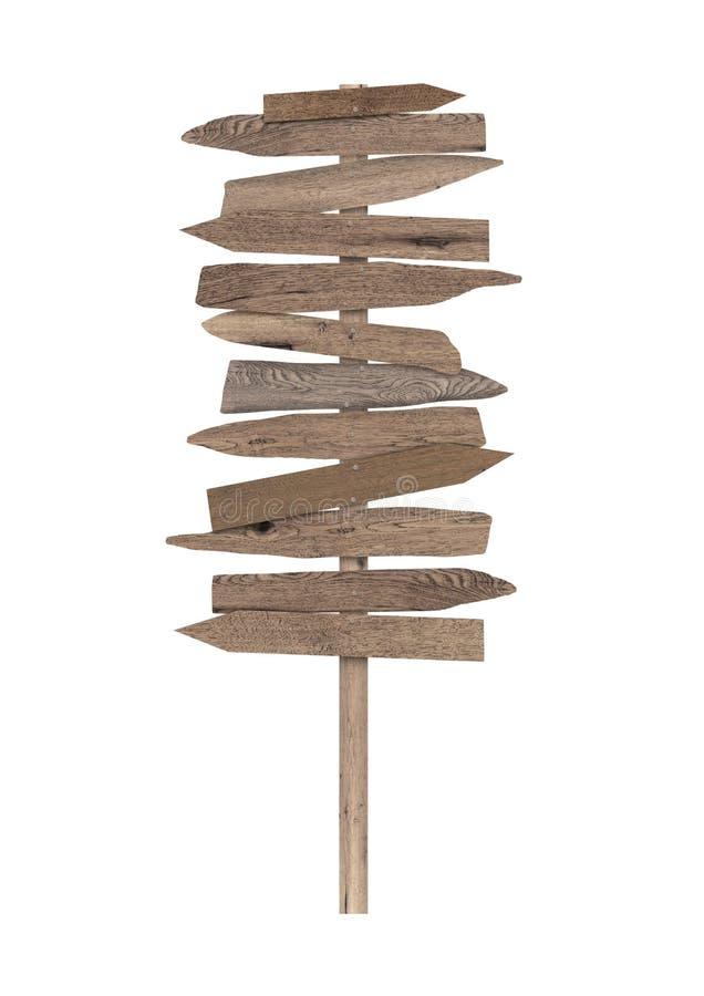 Grande sinal direcional de madeira vazio da praia no polo fotografia de stock royalty free
