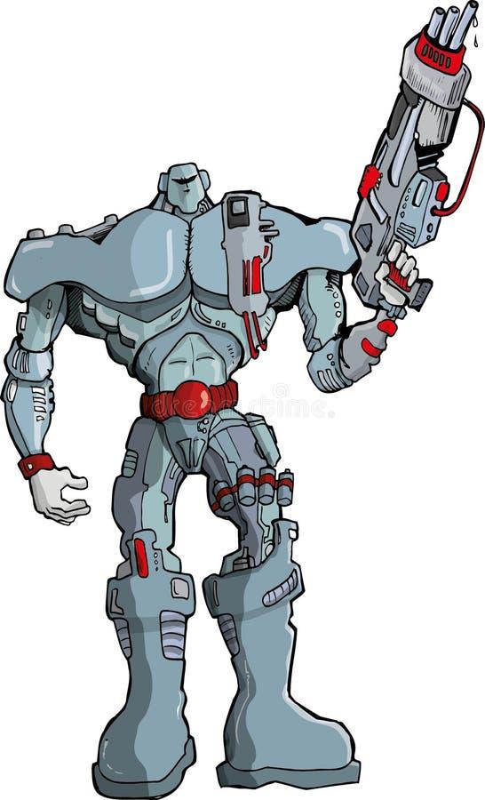 Grande soldato del robot del fumetto con la pistola royalty illustrazione gratis