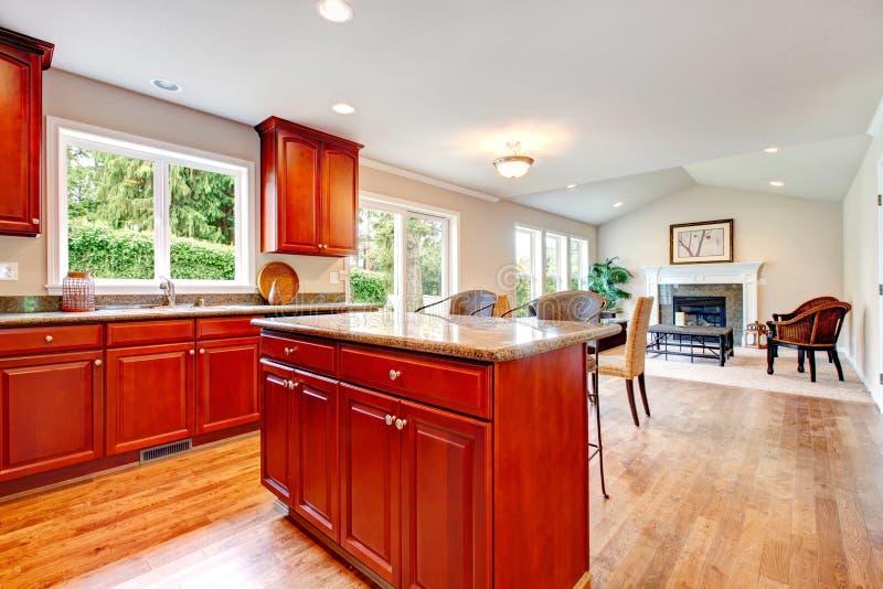Grande soluzione di progettazione per il piano aperto della cucina e del salone fotografia stock - Piano della cucina ...