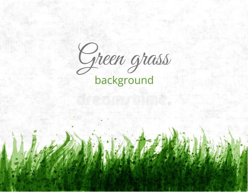 Grande spruzzata verde astratta di lerciume con il posto per il vostro testo Erba verde sul fondo della carta di riso Illustrazio illustrazione di stock