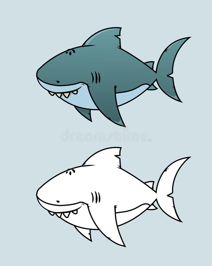Grande squalo bianco illustrazione vettoriale for Squalo bianco da colorare