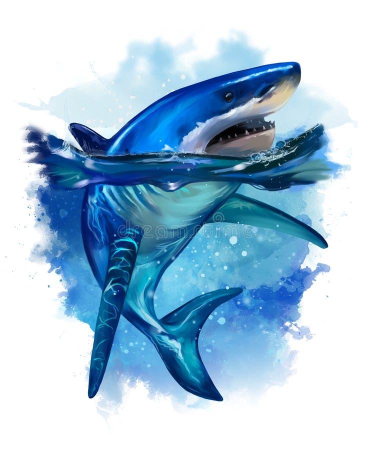 Grande squalo bianco Pittura dell'acquerello royalty illustrazione gratis