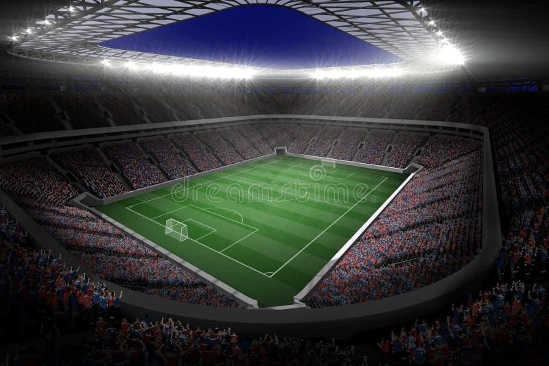 Grande stadio di football americano con le luci illustrazione vettoriale