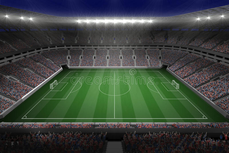 Grande stadio di football americano con le luci illustrazione di stock
