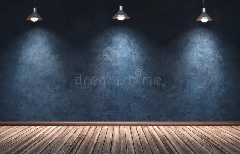 Grande stanza moderna con tre lampade a sospensione illustrazione vettoriale