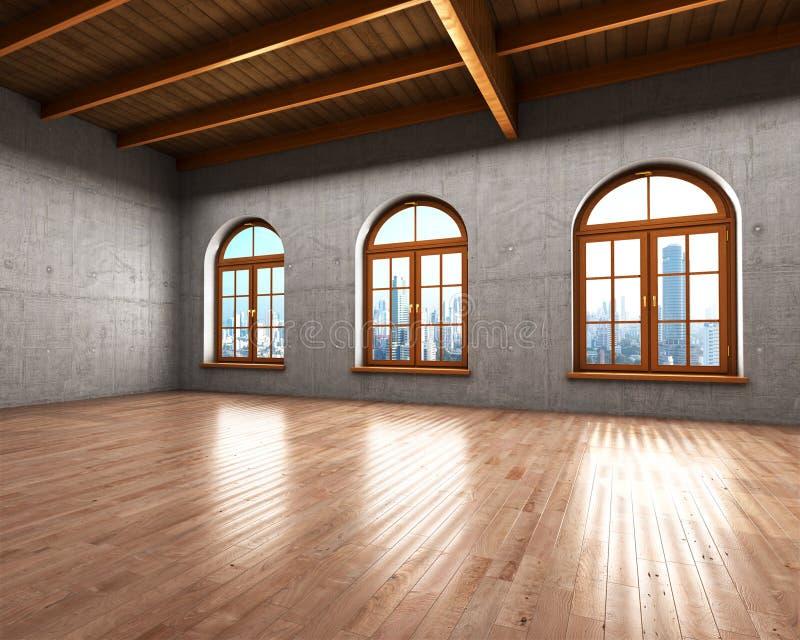 Grande stanza spaziosa con i mura di cemento illustrazione di stock