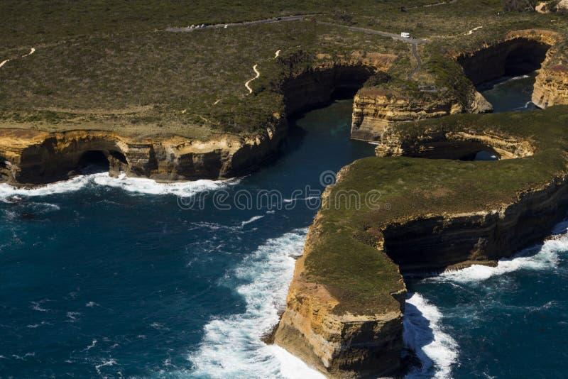 Grande strada Victoria Australia dell'oceano di bella vista aerea piacevole fotografia stock libera da diritti