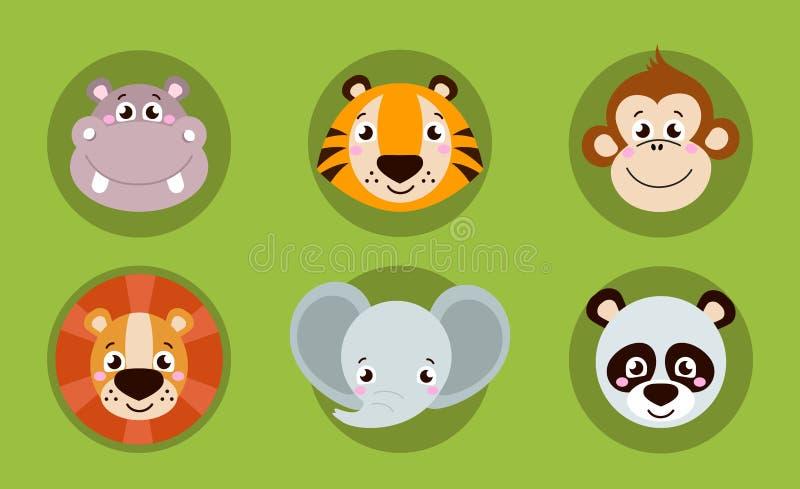 Grande tête d'ensemble des icônes d'animaux Visage drôle de collection de vecteur des animaux illustration de vecteur