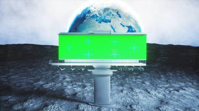 Grande tabellone per le affissioni sulla luna Fondo della terra rappresentazione 3d illustrazione di stock