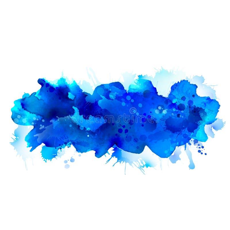 Grande tache d'aquarelle bleue écartée au fond clair illustration de vecteur