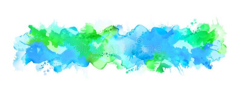 Grande tache d'aquarelle bleue écartée au fond clair illustration stock