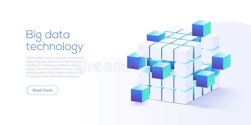 Grande technologie de données dans l'illustration isométrique de vecteur Informatio illustration de vecteur