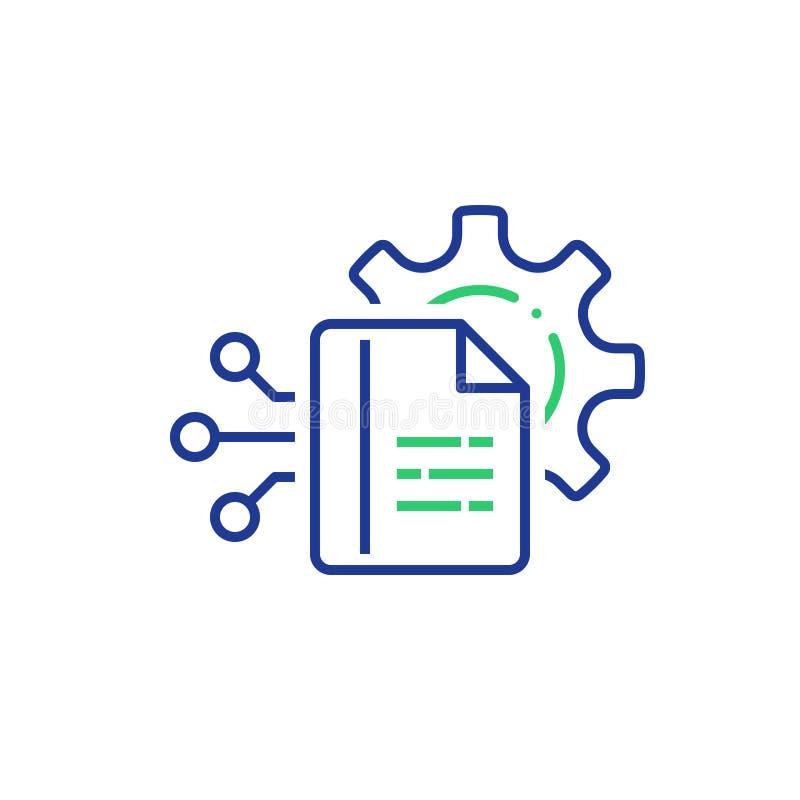 Grande tecnologia, registrazione ed analisi dell'elaborazione dei dati, catturanti informazioni digitali, documento manuale illustrazione vettoriale