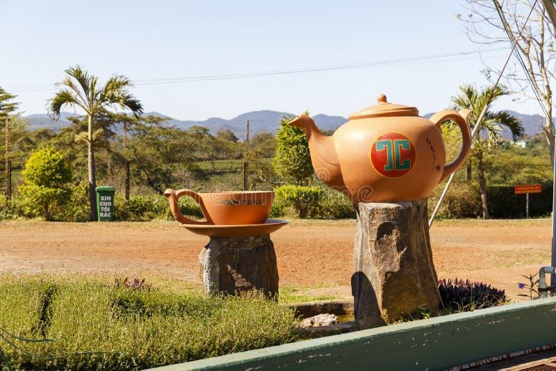 Grande teiera arancio e una tazza alla piantagione di Tam Chau Tea in Bao Lam, Vietnam fotografia stock libera da diritti