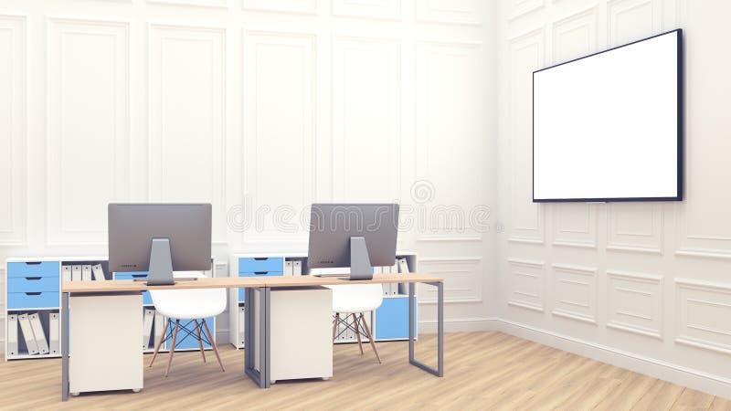 Grande tela branca para apresentações 3d modernos rendem com fundo branco do interion do escritório para o projeto do estilo de v ilustração do vetor
