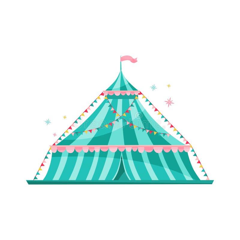 Grande tenda di circo a strisce blu decorata con le bandiere della stamina Tema del parco di divertimenti Progettazione piana di  royalty illustrazione gratis