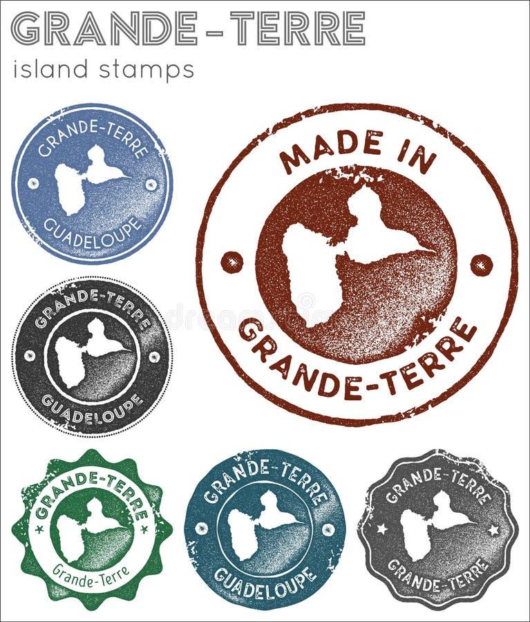 Grande-Terre collection de timbres illustration stock