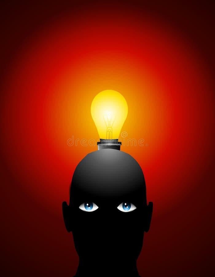 Grande testa della lampadina di idee illustrazione di stock