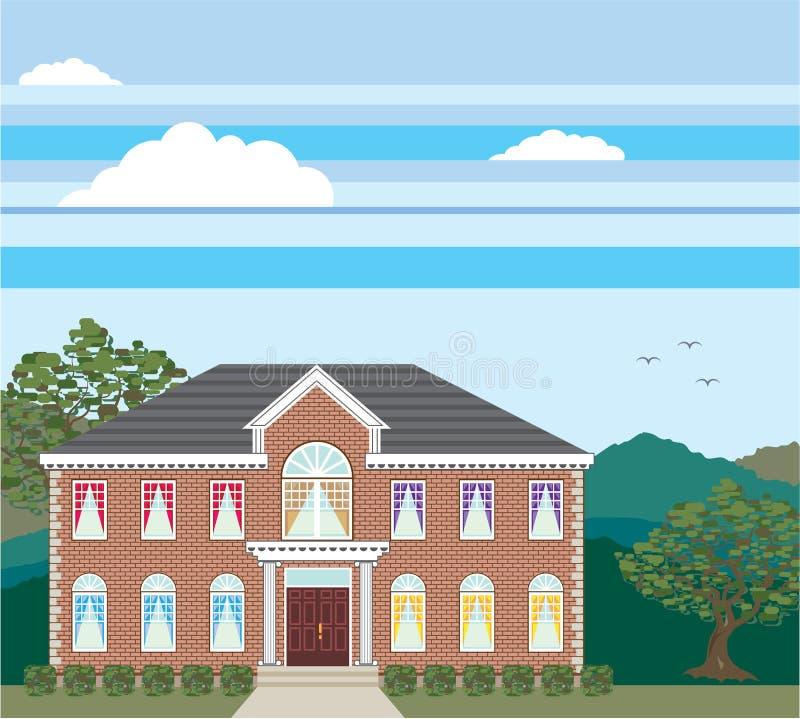 Grande tijolo do vetor da casa de mansão detalhado ilustração do vetor