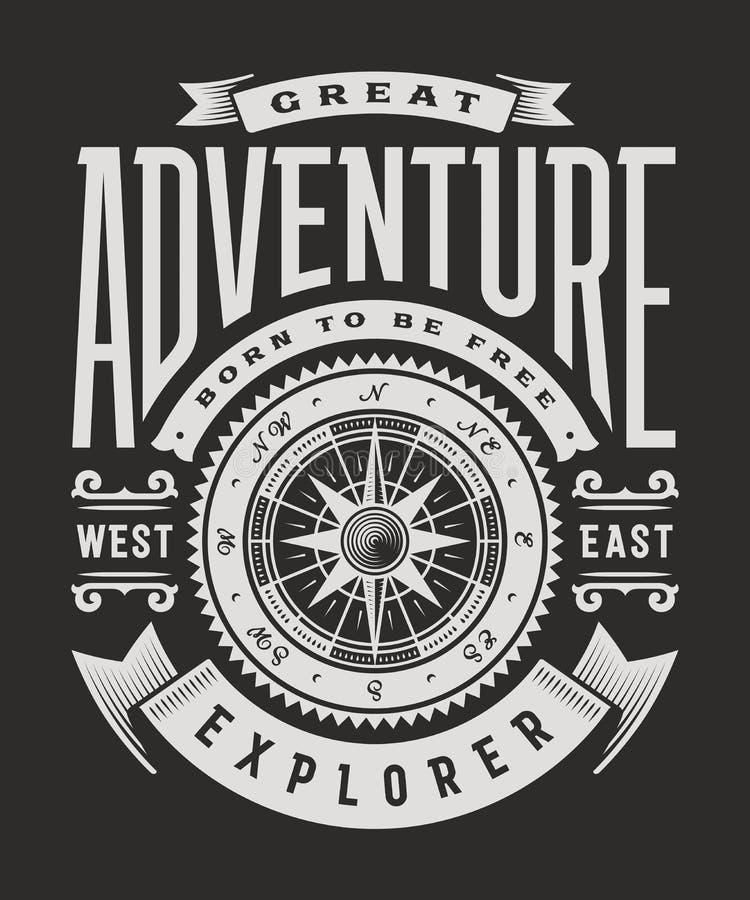 Grande tipografia d'annata di avventura su fondo nero illustrazione di stock