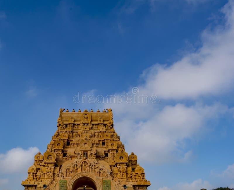 Grande tour d'entrée de temple de Thanjavur photo libre de droits