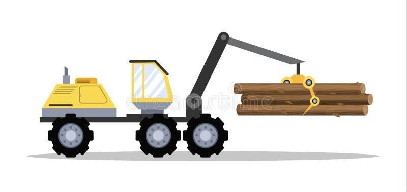 Grande trattore giallo con legno o legname royalty illustrazione gratis