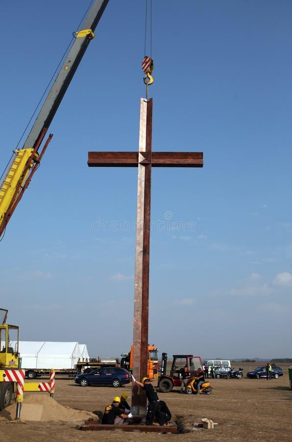 Grande traversa sul posto per il papa a Brno immagine stock