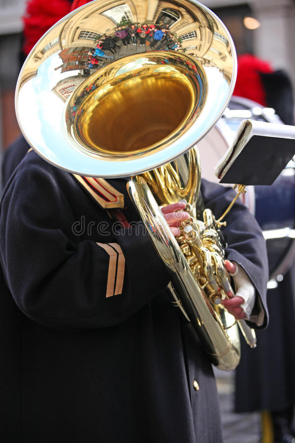 Grande Tuba Player image stock