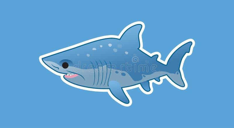 Grande tubarão branco engraçado ilustração royalty free