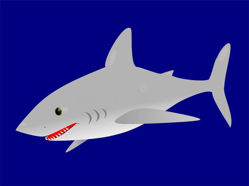 Grande tubarão branco no oceano azul ilustração do vetor