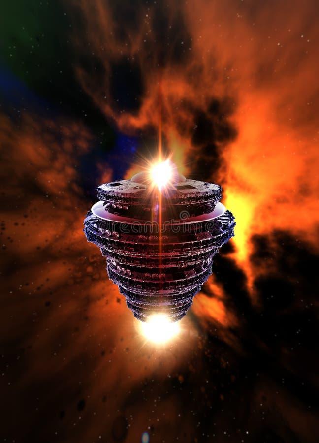 Grande UFO nello spazio profondo illustrazione vettoriale