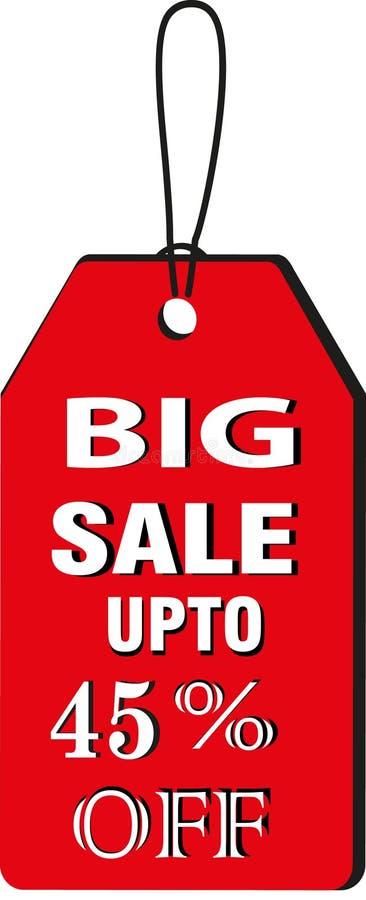Grande uptp 45% di vendita fuori dalle immagini rosse dell'icona del bottone dell'etichetta del modello di Collorfull illustrazione di stock