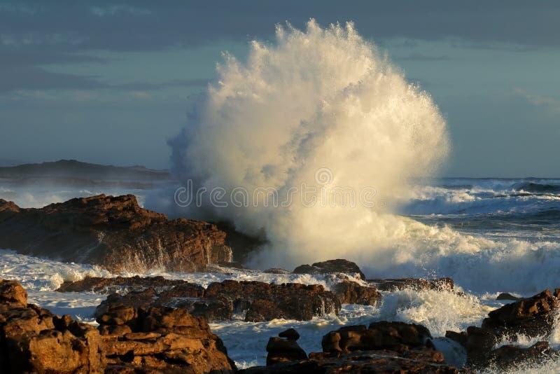 Grande vague de rupture sur les roches côtières image libre de droits