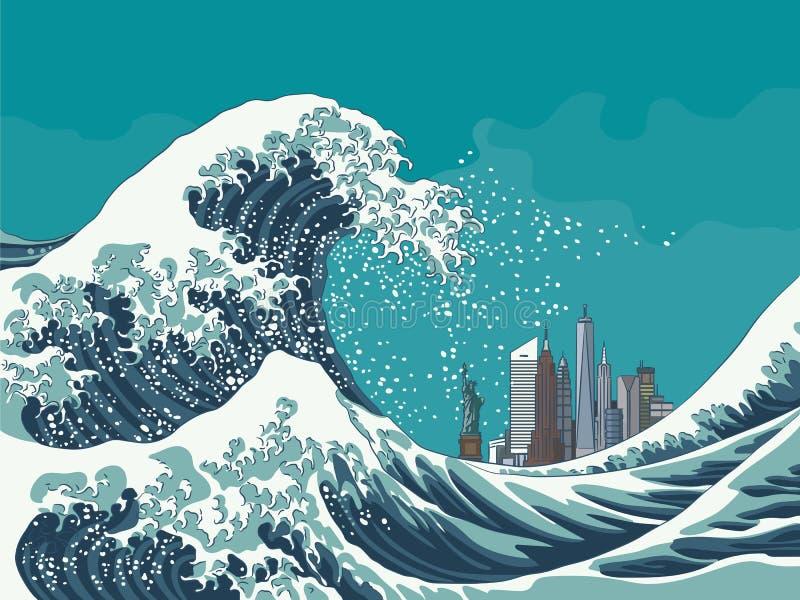 Grande vague outre de New York City illustration de vecteur