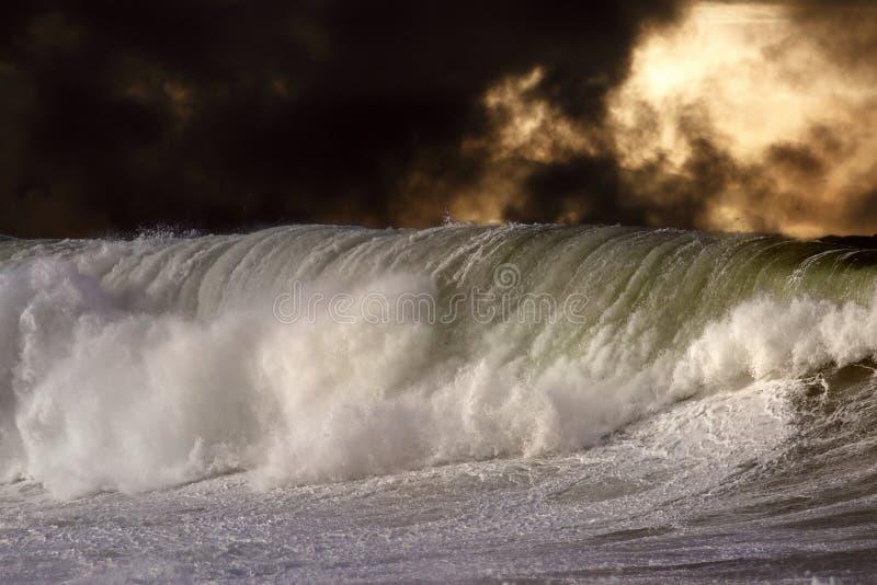 Grande vague se brisante détaillée