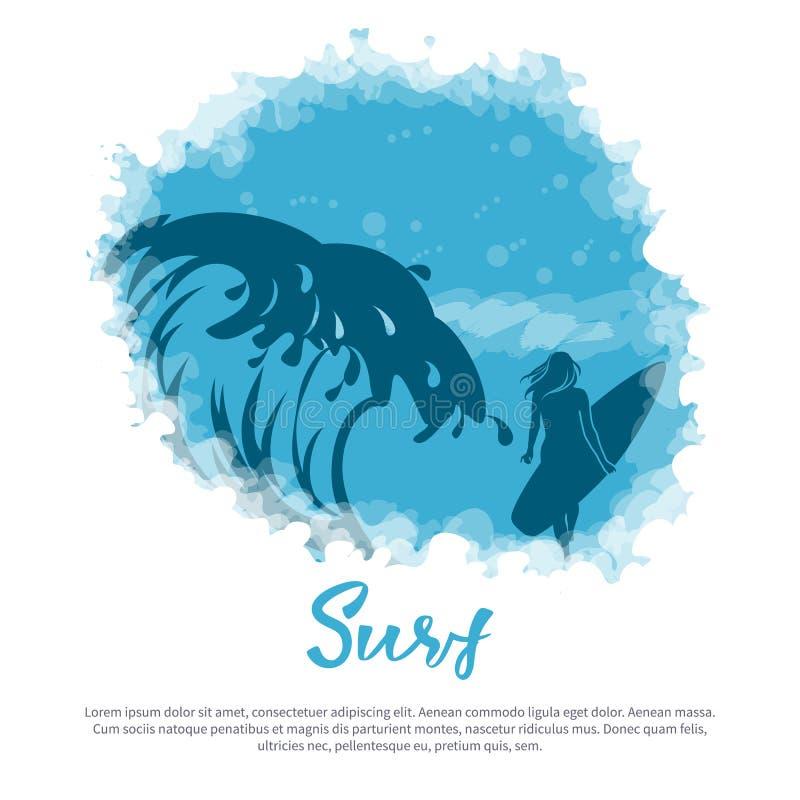 Grande vague, une fille avec une planche de surf illustration de vecteur