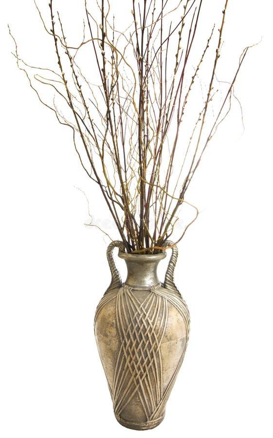 Grande vaso antigo com varas decorativas fotografia de stock