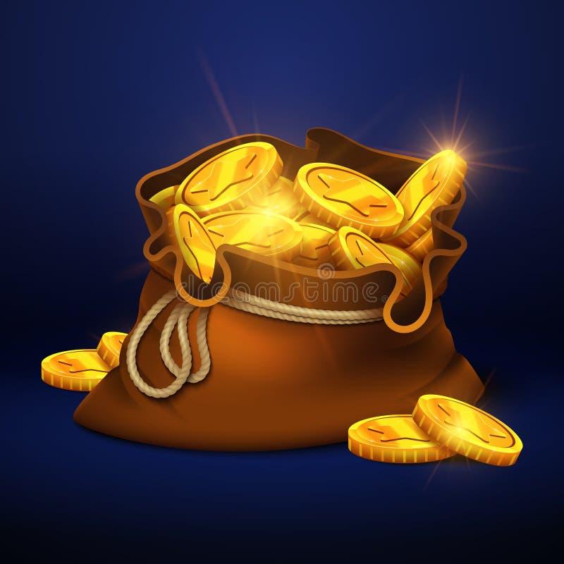 Grande vecchia borsa del fumetto con le monete di oro Concetto premiato di vettore dei contanti illustrazione vettoriale