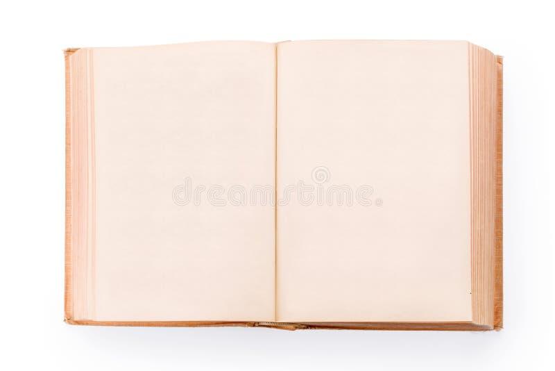 Grande vecchio libro aperto con le pagine in bianco isolate con il percorso di ritaglio fotografia stock libera da diritti